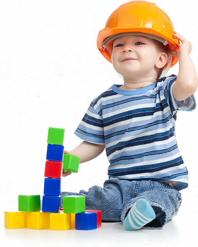 Kid wearing construction hat attending daycare in sugar hill